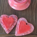 Ceramic Heart Charms made in an Art Therapy session with Bristol Reiki Healing Arts