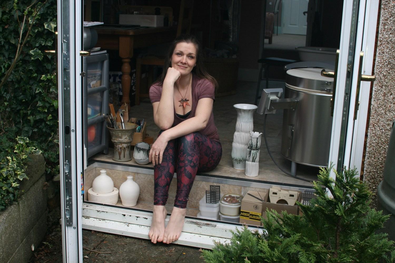 Sonya Wilkins in Art Studio Sonya Ceramic Art
