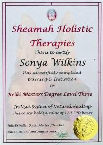 Sonya Wilkins Reiki Masters Certificate