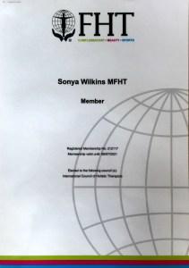 Sonya Wilkins FHT Member Certificate