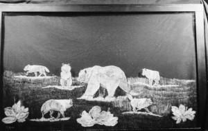 Bear & Wolf fire place screen-