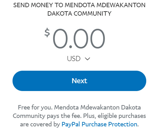 Thank you for donating to the Mendota Dakota Mdewakanton