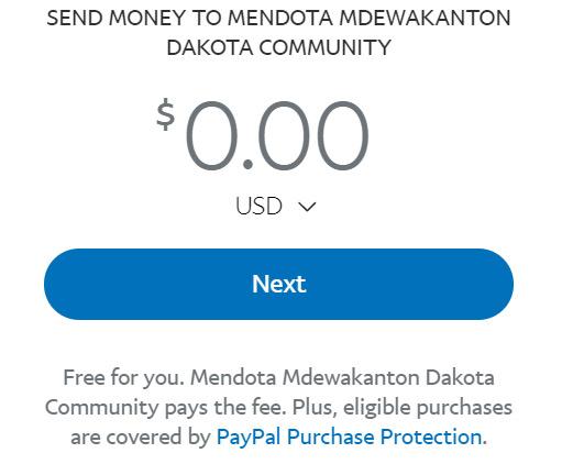 Thank you for donating to the Mendota Dakota Mdewakanton