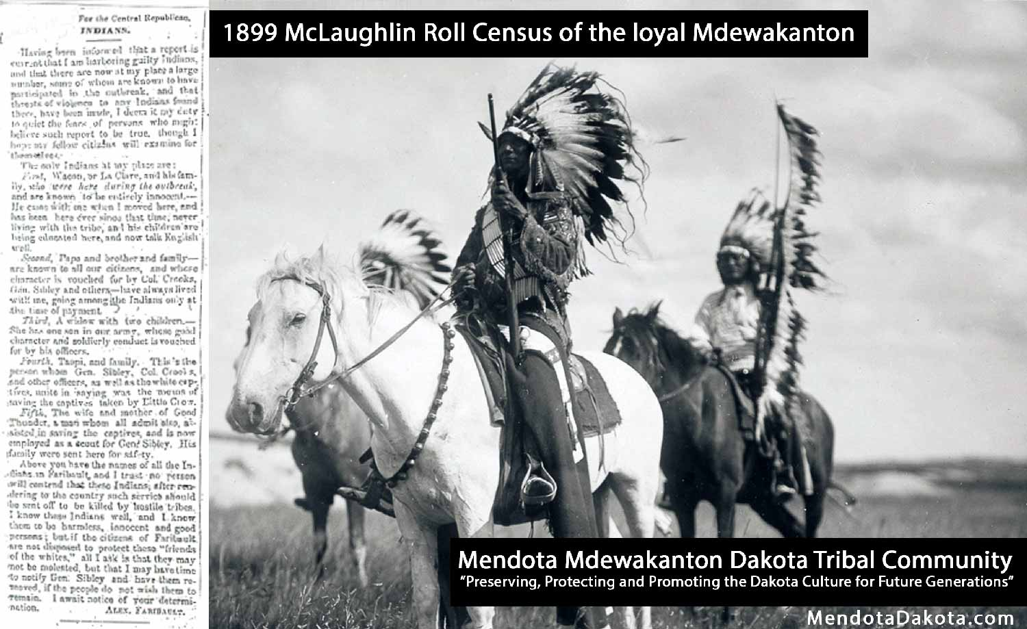 1899 McLaughlin Roll Census of the loyal Mdewakanton Mendota Dakota