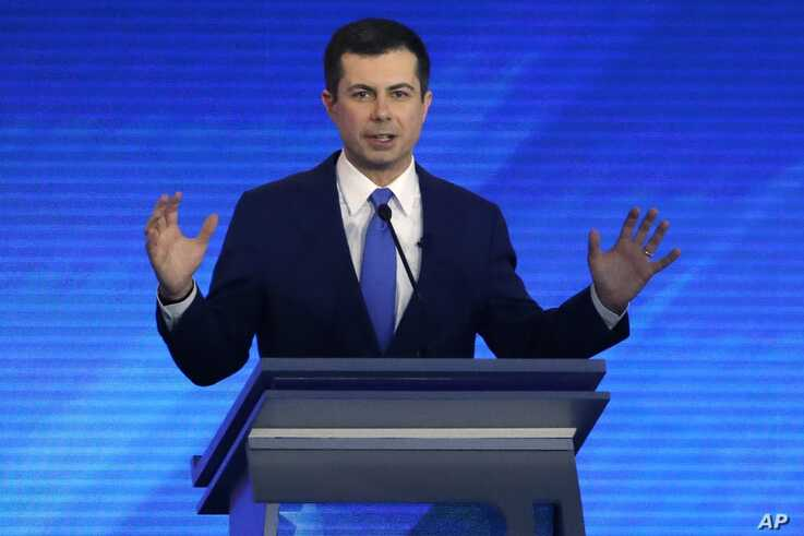 Democratic presidential candidate former South Bend, Ind., Mayor Pete Buttigieg speaks during a Democratic presidential primary…