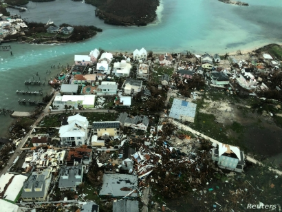 An aerial view shows devastation after hurricane Dorian hit the Abaco Islands in the Bahamas, September 3, 2019, in this image obtained via social media. Michelle Cove/Trans Island Airways/via REUTERS ATTENTION EDITORS - THIS IMAGE HAS BEEN SUPPLIED BY A THIRD PARTY. MANDATORY CREDIT. NO RESALES. NO ARCHIVES.