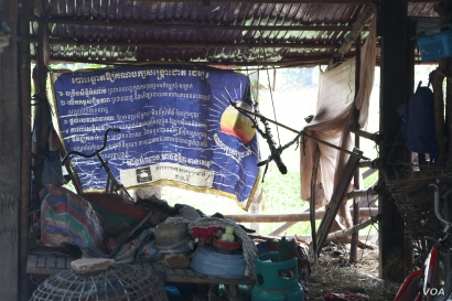 A banner of outlawed opposition Cambodia National Rescue Party, hung at Chek Chhun's house in Siem Reap province's Kdey Run commune, October 11, 2019.