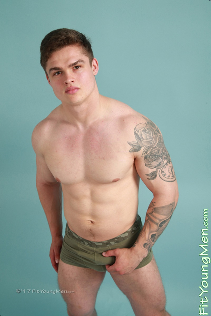 Sexy young sporting dude Jamie Black strips down to his