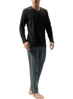 DAVID ARCHY Men's Cotton Long Sleeve Pajama Set