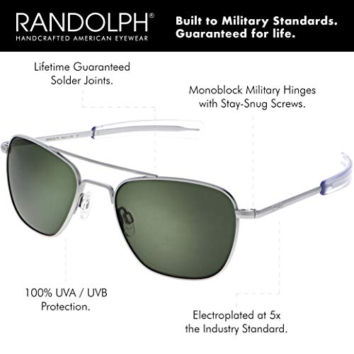 Randolph Matte Chrome Classic Aviator Sunglasses