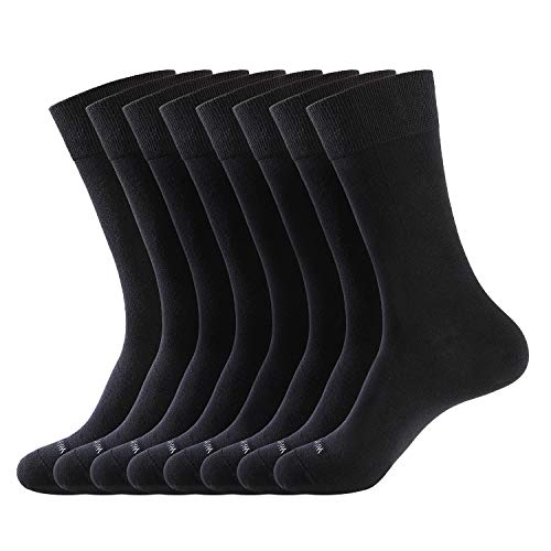 WANDER Men's Dress Socks , 8 Pairs, Black
