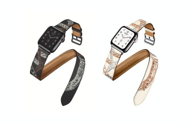 Apple Watch Hermès  40mm Allover Print Double Tour 錶帶,黑、白兩色,定價HKD3,699