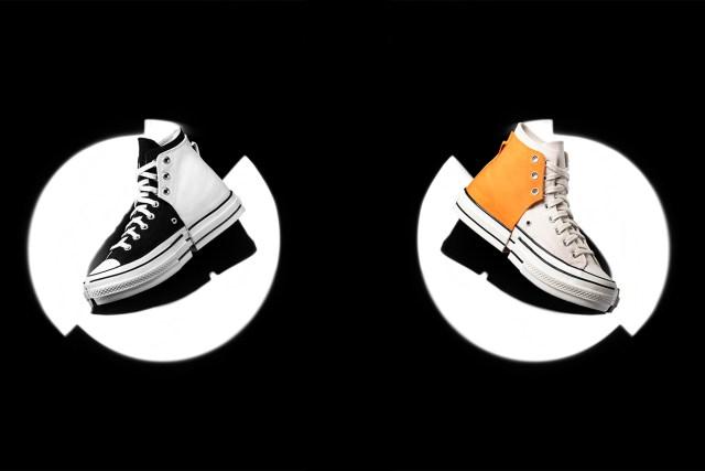 將一隻鞋以十字形拆分,拼接於另一隻鞋上,呈現合二為一的視覺效果。