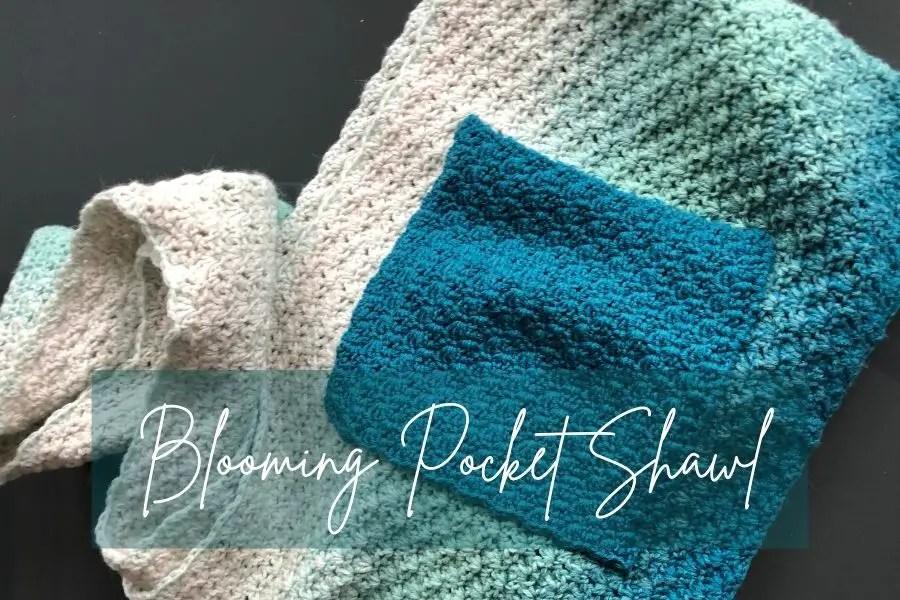 Easy crochet pocket shawl pattern