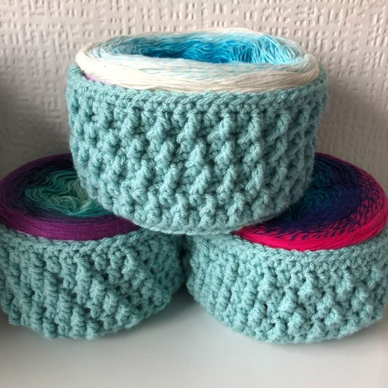 Easy textured crochet storage baskets – Totally Textured Yarn Baskets
