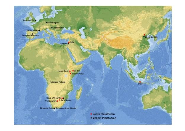 Kort over lokaliteter med potentielle og dokumenterede spor efter menneskets anvendelse af ild. GBY = Gesher Benot Ya'aqov.
