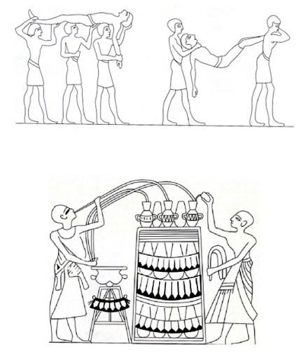 Øverst et billede fra Khetys grav (Ægypten ca. 2100 år f.v.t.), der viser berusede gæster, der bæres væk fra efter fest efter indtagelse af for megen vin. Nederst vises blanding af vin på et billede fra Amanemhats grav (Ægypten ca. 1400 år f.v.t.).