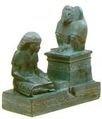 Thot, gud for skrivekunst og skytshelgen for ægyptiske skrivere, vejleder Nebmertuf i læsningens kunst.