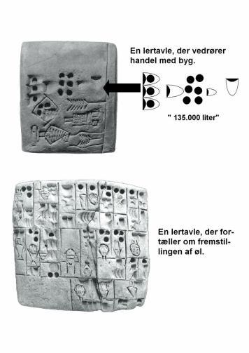 To komplekse lertavler, der henholdsvis vedrører handel med byg og fremstilling af øl.