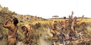 Scenario illustrerende Homo habilis' liv.