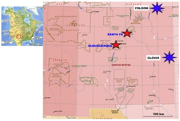 Kortet viser beliggenheden af Clovis og Folsom i New Mexico