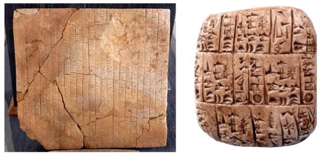 To af tavlerne fra Eblas bibliotek. Ti venstre en af de store kvadratiske tavler (sidelængde ca. 40 cm). Til højre en af de små tavler (sidelængde 6 cm).
