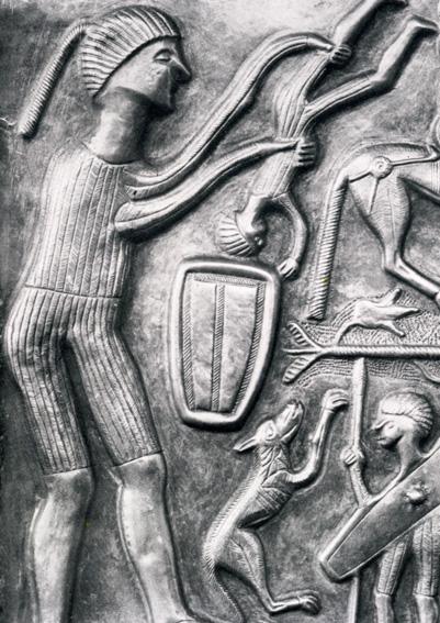 Udsnit af Gundestrupkedelen, der viser en menneskeofring