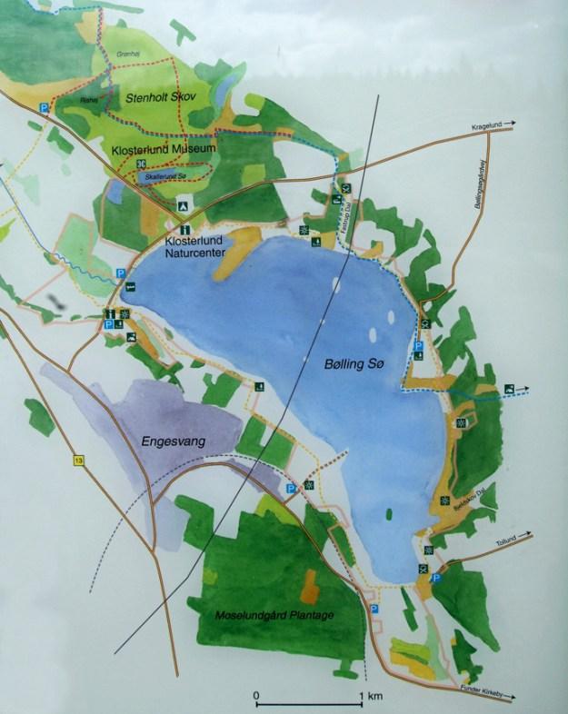 """Fra Engesvang følges vejen til Moselund. Ved Moselundsgård drejes til venstre ad vejen kaldet """"Bøllingsø"""", og lige før jernbanen er der en P-plads. Herfra videre til fods. Vejen følges over jernbanen, hvor der ligger et nybygget hus. Vejen fortsætter ligeud på en tange i søen. Hvis der lige efter huset drejes mod venstre kan vejen følges ca. 1 km langs søens sydlige bred. Vejen ender i en anden skovvej, hvor der også ligger et hus. Der drejes til venstre og vejen følges ca. 500 m, hvorefter der igen holdes til venstre rundt om """"knolden"""" langs randen af søen (ca. 500 m). Ved """"knoldens"""" nordvestlige ende drejes igen mod venstre ned i mosen i Bjeldskovdalen. Efter ca. 200 m viser et hvidt papskilt til Tollundmandens fundsted, der er markeret med en kobberplade. Fra """"knolden"""" er der god udsigt over søen."""
