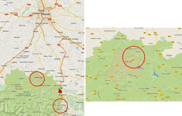 Kortet til venstre viser beliggenheden af Mas d'Azil i forhold til Toulouse, Tarascon og Niaux. Til højre Mas d'Azil og Sabaret