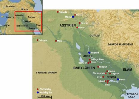 Kort over Mesopotamien med angivelse af nogle vigtige lokaliteter fra Oldtiden