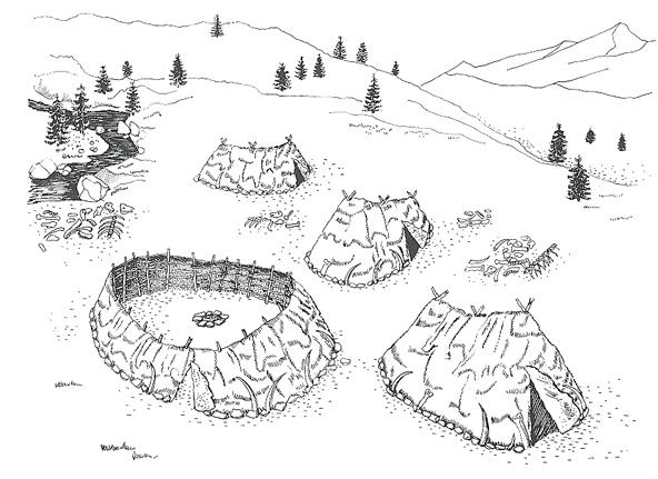 Rekonstruktion af lejren ved Dolni Vestonice