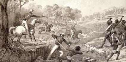 Engelske soldater jager tasmanske indfødte