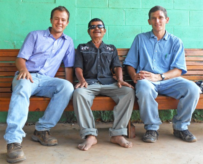 Zachary Morgan (l) and Galen Miller (r) with Gonzalo Reynosa, whom they were privileged to lead to the Lord.