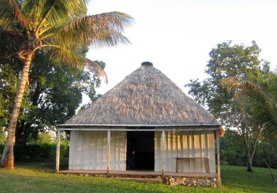 The thatch-roofed chapel in Santa Rosita.