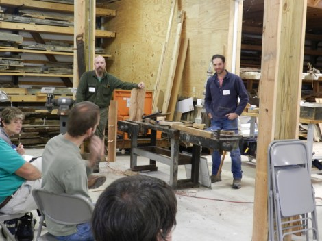 Instructors Larry Singleton and Patrick Handler opened the session with instructions on wood splitting and how to replace the handle of an implement.