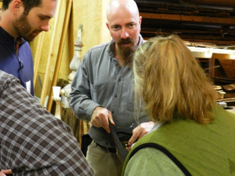 Larry, the purist, brought out stones and leather strops for his sharpening instructions.