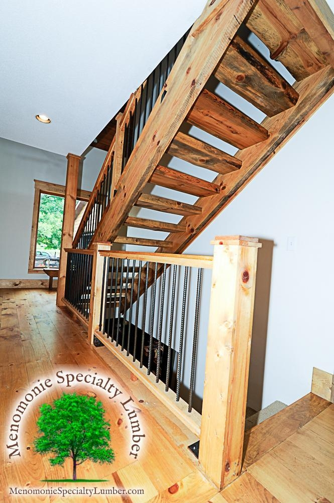 Salvaged Timber Pine Slab Stairway Custom Handrail With Steel | Live Edge Stair Treads | Stained | Build In Bench | Douglas Fir | Dark Risers | Barnwood