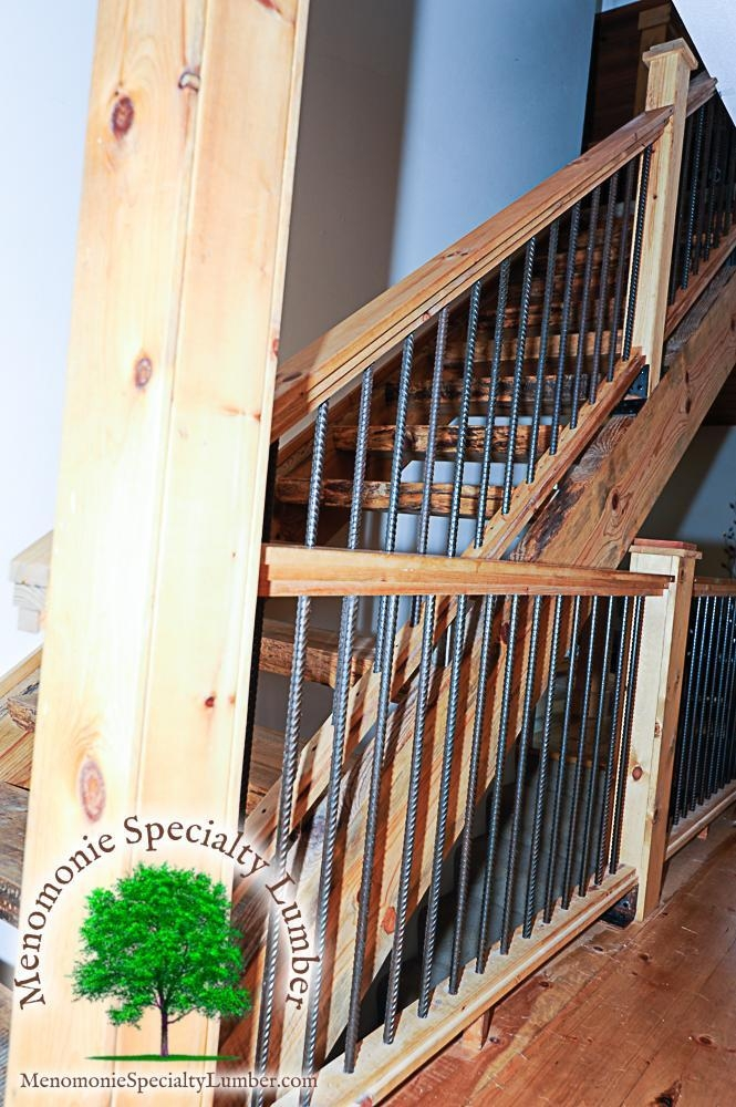 Salvaged Timber Pine Slab Stairway Custom Handrail With Steel | Pine Handrail For Stairs | Stair Parts | Anti Slip | Handrail Brackets | Stair Treads | Wood Stair