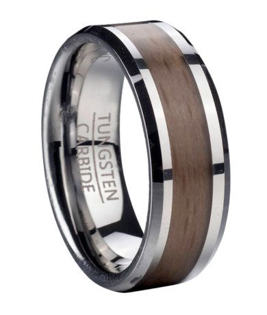 Mens Tungsten Wedding Ring With Red Beech Wood Inlay