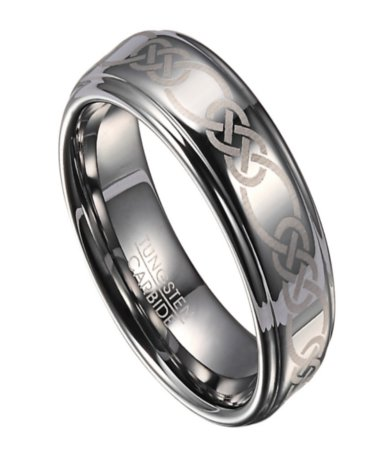 Mens Tungsten Wedding Ring With Celtic Knot Design