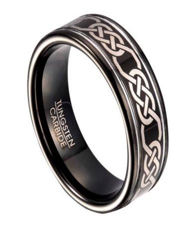 Black Tungsten Wedding Band For Men With Celtic Knot Design