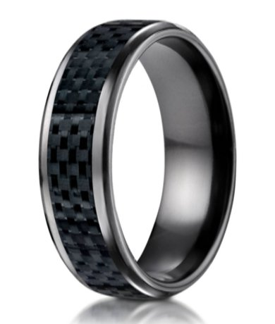 Mens Black Titanium Wedding Band  Carbon Fibre Inlay