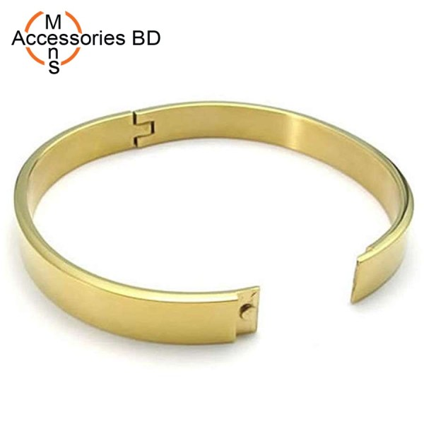 New Arrive 8MM Width Fashion 316L Stainless Steel Classic Gold Plated Plating Flat Surface Golden Bracelet Bangle