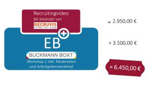 Illustration des EB Plus Modells, das heißt Employer Branding plus Umsetzung einer Maßnahme, hier ein Recruitingvideo von Recruvis