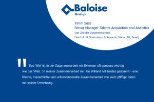 Bild mit Aussage zur persönlichen Zusammenarbeit von Timm Süss, seinerzeit Head of HR Governance and Rewards bei der Manor AG