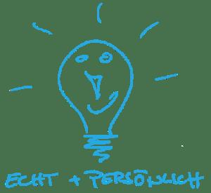 """Illustration einer Glühbirne zum Thema """"echt und persönlich"""""""