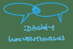 """Illustration zweier ineinader verschränkter Sprechblasen zum Thema """"direkt und konventionslos"""""""
