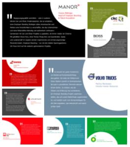 Screenshot der Zitategalerie mit Kundenstimmen zur Zusammenarbeit