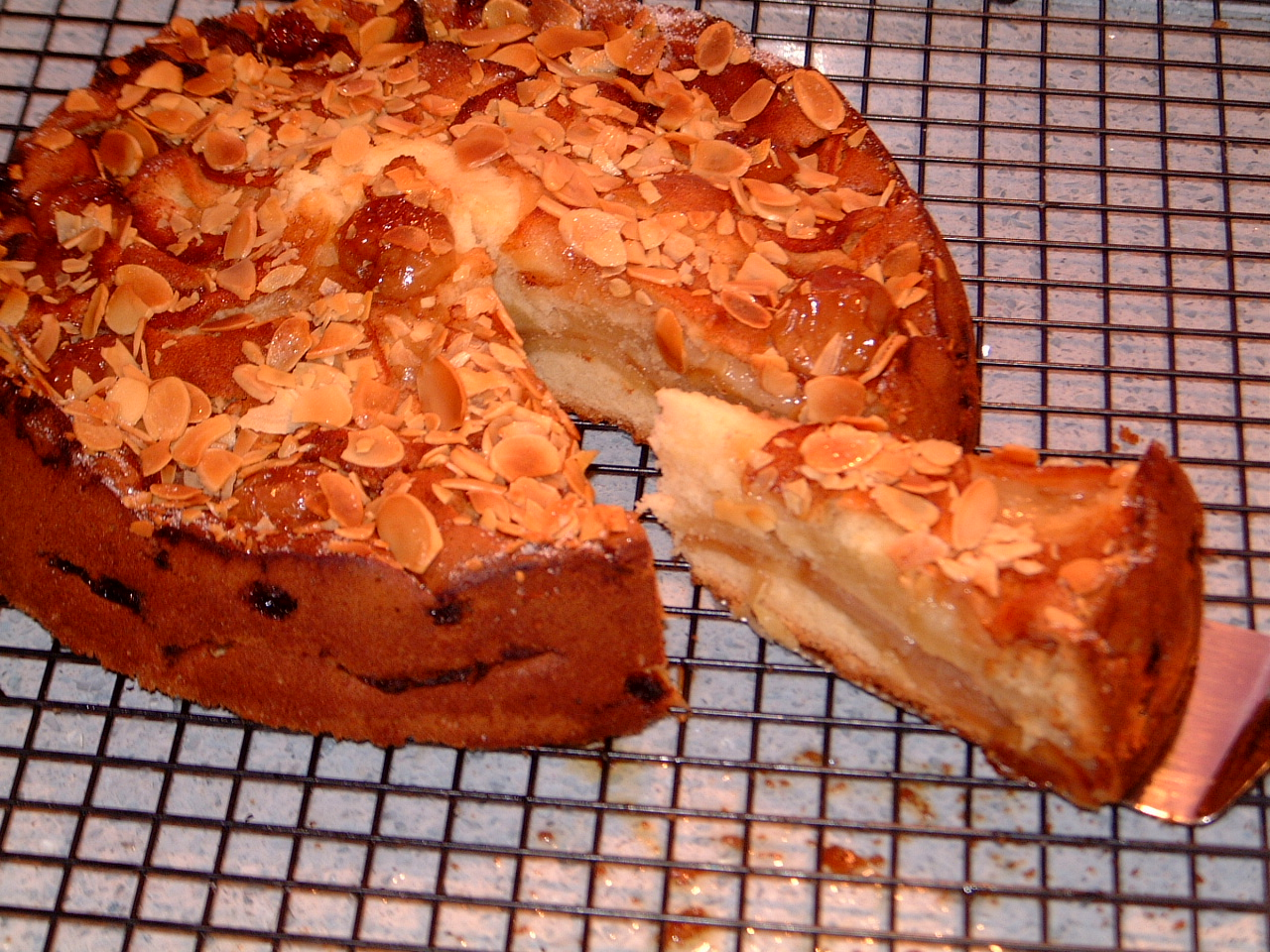 A slice of Apple and Almond cake