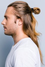 men updos long hair simple